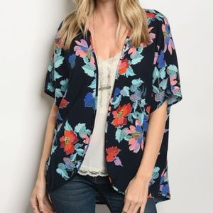 Tops - ☀LAST ONE☀NAVY FLORAL KIMINO☀